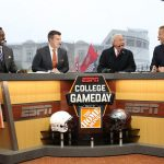 Columbus, OH - October 28, 2017 - Ohio State University: Desmond Howard, Rece Davis, Lee Corso and Kirk Herbstreit on the set of College GameDay Built by the Home Depot (Photo by Allen Kee / ESPN Images)