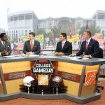 Columbus, OH - October 28, 2017 - Ohio State University: Desmond Howard, Rece Davis,David Pollack and Kirk Herbstreit on the set of College GameDay Built by the Home Depot (Photo by Allen Kee / ESPN Images)