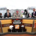 Columbus, OH - October 28, 2017 - Ohio State University:  Desmond Howard, Rece Davis, Jack Nicklaus, Lee Corso and Kirk Herbstreit on the set of College GameDay Built by the Home Depot (Photo by Allen Kee / ESPN Images)