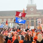 Stillwater, OK - November 4, 2017 - Edmon Low Library: Fans on the set of College GameDay Built by the Home Depot (Photo by Phil Ellsworth / ESPN Images)