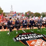 Stillwater, OK - November 4, 2017 - Edmon Low Library: David Pollack, Desmond Howard, Rece Davis, Lee Corso and Kirk Herbstreit on the set of College GameDay Built by the Home Depot (Photo by Phil Ellsworth / ESPN Images)