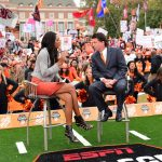 Stillwater, OK - November 4, 2017 - Edmon Low Library: Maria Taylor and Coach Mike Gundy of the Oklahoma State University Cowboys on the set of College GameDay Built by the Home Depot (Photo by Phil Ellsworth / ESPN Images)