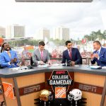 Miami Gardens, FL - November 11, 2017 - University of Miami: Desmond Howard, Rece Davis, David Pollack and Kirk Herbstreit on the set of College GameDay Built by the Home Depot (Photo by Scott Clarke / ESPN Images)