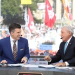 University Park, PA - September 29, 2018 - Pennsylvania State University: Reced Davis and Lee Corso on the set of College GameDay Built by the Home Depot (Photo by Allen Kee / ESPN Images)