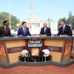 University Park, PA - September 29, 2018 - Pennsylvania State University: Desmond Howard, Rece Davis, Lee Corso and Kirk Herbstreit on the set of College GameDay Built by the Home Depot (Photo by Allen Kee / ESPN Images)