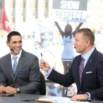 University Park, PA - September 29, 2018 - Pennsylvania State University: David Pollack and Kirk Herbstreit on the set of College GameDay Built by the Home Depot (Photo by Allen Kee / ESPN Images)