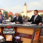 Fort Worth, TX - September 15, 2018 - Texas Christian University: Rece Davis, Lee Corso and Kirk Herbstreit on the set of College GameDay Built by the Home Depot (Photo by Allen Kee / ESPN Images)