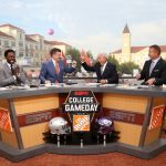 Fort Worth, TX - September 15, 2018 - Texas Christian University: Desmond Howard, Rece Davis, Lee Corso and Kirk Herbstreit on the set of College GameDay Built by the Home Depot (Photo by Allen Kee / ESPN Images)