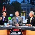 Eugene, OR - September 22, 2018 - University of Oregon: Rece Davis, Rob Mullens of the University of Oregon Ducks and Kirk Herbstreit on the set of College GameDay Built by the Home Depot (Photo by Scott Clarke / ESPN Images)
