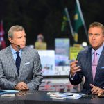 Eugene, OR - September 22, 2018 - University of Oregon: Tom Rinaldi and Kirk Herbstreit on the set of College GameDay Built by the Home Depot (Photo by Scott Clarke / ESPN Images)