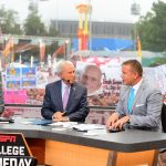 Dallas, TX - October 6, 2018 - Fair Park: Rece Davis, Lee Corso and Kirk Herbstreit on the set of College GameDay Built by the Home Depot (Photo by Scott Clarke / ESPN Images)