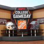 Pullman, WA - October 19, 2018 - Washington State University: Helmets on the set of College GameDay Built by the Home Depot (Photo by Allen Kee / ESPN Images)
