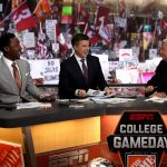 Pullman, WA - October 20, 2018 - Washington State University: Desmond Howard, Rece Davis and Lee Corso on the set of College GameDay Built by the Home Depot (Photo by Allen Kee / ESPN Images)