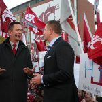 Pullman, WA - October 20, 2018 - Washington State University: Drew Bledsoe and Kirk Herbstreit on the set of College GameDay Built by the Home Depot (Photo by Allen Kee / ESPN Images)