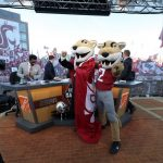 Pullman, WA - October 20, 2018 - Washington State University: Lee Corso and Butch T. Cougar on the set of College GameDay Built by the Home Depot (Photo by Allen Kee / ESPN Images)
