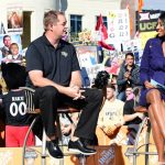 Orlando, FL - November 17, 2018 - University of Central Florida: Coach Josh Heupel of the UCF Knights and Maria Taylor on the set of College GameDay Built by the Home Depot (Photo by Scott Clarke / ESPN Images)