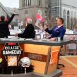 Columbus, OH - November 24, 2018 - Ohio State University: Rece Davis, Lee Corso and Kirk Herbstreit on the set of College GameDay Built by the Home Depot (Photo by Scott Clarke / ESPN Images)