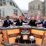 Columbus, OH - November 24, 2018 - Ohio State University: Desmond Howard, Rece Davis, Lee Corso and Kirk Herbstreit on the set of College GameDay Built by the Home Depot (Photo by Scott Clarke / ESPN Images)