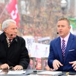 Columbus, OH - November 24, 2018 - Ohio State University: Lee Corso and Kirk Herbstreit on the set of College GameDay Built by the Home Depot (Photo by Scott Clarke / ESPN Images)