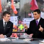Columbus, OH - November 24, 2018 - Ohio State University: Rece Davis and David Pollack on the set of College GameDay Built by the Home Depot (Photo by Scott Clarke / ESPN Images)