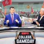 Ames, IA - September 14, 2019 - Iowa State University: Rece Davis and Lee Corso on the set of College GameDay Built by the Home Depot (Photo by Scott Clarke / ESPN Images)