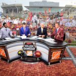 Ames, IA - September 14, 2019 - Iowa State University: Desmond Howard, Rece Davis, Lee Corso and Kirk Herbstreit on the set of College GameDay Built by the Home Depot (Photo by Scott Clarke / ESPN Images)