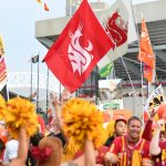 Ames, IA - September 14, 2019 - Iowa State University:  Washington State flag during College GameDay Built by the Home Depot (Photo by Scott Clarke / ESPN Images)