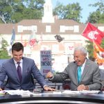 Athens, GA - September 21, 2019 - University of Georgia: Rece Davis and  Lee Corso on the set of College GameDay Built by the Home Depot (Photo by Allen Kee / ESPN Images)