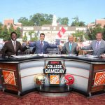 <p> Athens, GA - September 21, 2019 - University of Georgia: Desmond Howard, Rece Davis, Lee Corso and Kirk Herbstreit on the set of College GameDay Built by the Home Depot (Photo by Allen Kee / ESPN Images)</p>