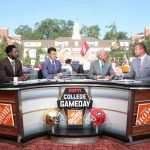 Athens, GA - September 21, 2019 - University of Georgia: Desmond Howard, Rece Davis, Lee Corso and Kirk Herbstreit on the set of College GameDay Built by the Home Depot (Photo by Allen Kee / ESPN Images)