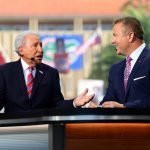 Gainesville, FL - October 5, 2019 - University of Florida: Lee Corso and Kirk Herbstreit on the set of College GameDay Built by the Home Depot (Photo by Phil Ellsworth / ESPN Images)