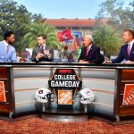 Gainesville, FL - October 5, 2019 - University of Florida: Desmond Howard, Rece Davis, Lee Corso and Kirk Herbstreit on the set of College GameDay Built by the Home Depot (Photo by Phil Ellsworth / ESPN Images)