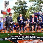 Gainesville, FL - October 5, 2019 - University of Florida: Desmond Howard, Rece Davis, University of Florida Gator head coach Dan Mullen, Lee Corso and Kirk Herbstreit on the set of College GameDay Built by the Home Depot (Photo by Phil Ellsworth / ESPN Images)