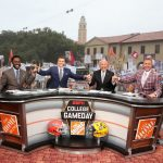Baton Rouge, LA - October 12, 2019 - Louisiana State University: Desmond Howard, .Rece Davis, Lee Corso and Kirk Herbstreit on the set of College GameDay Built by the Home Depot (Photo by Allen Kee / ESPN Images)