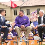 Baton Rouge, LA - October 12, 2019 - Louisiana State University: Rece Davis, LSU head coach Ed Orgeron and Lee Corso on the set of College GameDay Built by the Home Depot (Photo by Allen Kee / ESPN Images)