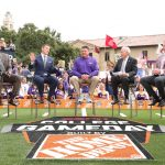 Baton Rouge, LA - October 12, 2019 - Louisiana State University: Desmond Howard, Rece Davis, LSU head coach Ed Orgeron, Lee Corso and Kirk Herbstreit on the set of College GameDay Built by the Home Depot (Photo by Allen Kee / ESPN Images)