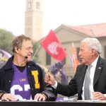 Baton Rouge, LA - October 12, 2019 - Louisiana State University: Actor John Goodman and Lee Corso on the set of College GameDay Built by the Home Depot (Photo by Allen Kee / ESPN Images)