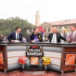 Baton Rouge, LA - October 12, 2019 - Louisiana State University: Desmond Howard, Rece Davis, actor John Goodman, Lee Corso and Kirk Herbstreit on the set of College GameDay Built by the Home Depot (Photo by Allen Kee / ESPN Images)