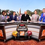 Tuscaloosa, AL - November 9, 2019 - University of Alabama: Desmond Howard, Rece Davis, Lee Corso, Nick Saban and Kirk Herbstreit on the set of College GameDay Built by the Home Depot (Photo by Phil Ellsworth / ESPN Images)