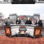 Columbus, OH - November 23, 2019 - Ohio State University: Desmond Howard, Rece Davis, Lee Corso and Kirk Herbstreit on the set of College GameDay Built by the Home Depot (Photo by Scott Clarke / ESPN Images)