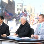 Memphis, TN - November 2, 2019: David Pollack, Lee Corso and Kirk Herbstreit on the set of College GameDay Built by the Home Depot (Photo by Scott Clarke / ESPN Images)