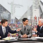 Atlanta, GA - December 7, 2019 - Mercedes-Benz Stadium: Rece Davis, David Pollack and Lee Corso on the set of College GameDay Built by the Home Depot during the 2019 SEC Championship Game (Photo by Allen Kee / ESPN Images)