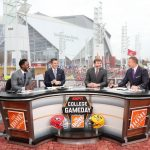 Atlanta, GA - December 7, 2019 - Mercedes-Benz Stadium: Desmond Howard, Rece Davis, coach Kirby Smart of the University of Georgia Bulldogs and Kirk Herbstreit on the set of College GameDay Built by the Home Depot during the 2019 SEC Championship Game (Photo by Allen Kee / ESPN Images)