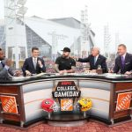 Atlanta, GA - December 7, 2019 - Mercedes-Benz Stadium: Desmond Howard, Rece Davis, Zac Brown, Lee Corso and Kirk Herbstreit on the set of College GameDay Built by the Home Depot during the 2019 SEC Championship Game (Photo by Allen Kee / ESPN Images)