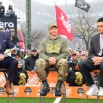 Philadelphia, PA - December 14, 2019 - Lincoln Financial Field: Rece Davis, Jeff Monken and David Pollack during College GameDay Built by the Home Depot (Photo by Scott Clarke / ESPN Images)