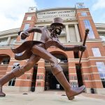 Winston-Salem, NC - September 9, 2020 - Wake Forest University: Demon Deacon mascot statue in front of McCreary Tower prior to College GameDay Built by the Home Depot (Photo by Phil Ellsworth / ESPN Images)