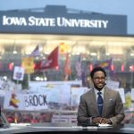Ames, IA - September 11, 2021 - Jack Trice Stadium: Desmond Howard on the set of College GameDay Built by the Home Depot. (Photo by Allen Kee / ESPN Images)