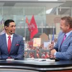 Ames, IA - September 11, 2021 - Jack Trice Stadium: David Pollack and Kirk Herbstreit on the set of College GameDay Built by the Home Depot. (Photo by Allen Kee / ESPN Images)