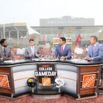 Ames, IA - September 11, 2021 - Jack Trice Stadium: Desmomd Howard, Rece Davis, David Pollack and Kirk Herbstreit on the set of College GameDay Built by the Home Depot. (Photo by Allen Kee / ESPN Images)