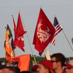 Ames, IA - September 11, 2021 - Jack Trice Stadium: Washington State flag during College GameDay Built by the Home Depot. (Photo by Allen Kee / ESPN Images)